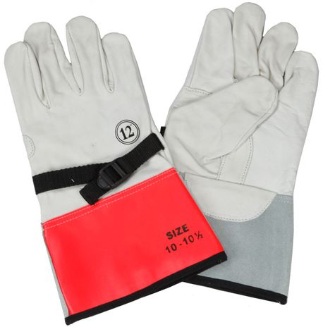 """CPA 12"""" Lineman's High Voltage Leather Protector Gloves LLPG"""