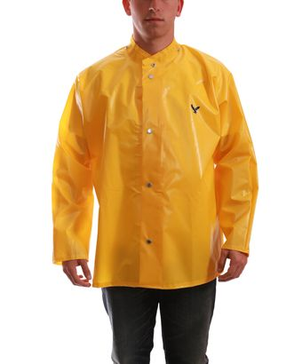 Tingley J22207 Iron Eagle® Chemical Resistant Jacket - Polyurethane Coated, with Hood Snaps Gold Front