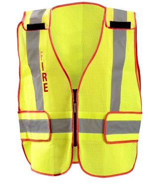 Occunomix LUX-PSF-DOR Mesh Public Safety Break-Away Vest w/DOR, Fire Front