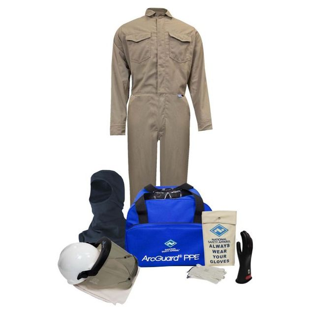 National Safety Apparel Arc Flash Suit KIT2CVPR08 8.5 Calorie With Coverall And Balaclava HRC 2