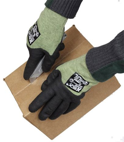 Winter ASTM Cut Resistant Level 5 Gloves, Kevlar with Steel - View with Knife