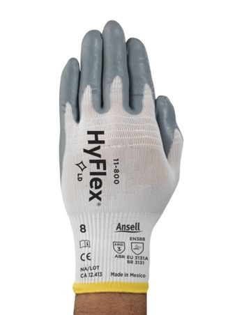 Ansell HyFlex Nylon Gloves 11-800 - Nitrile Foam Coated Back