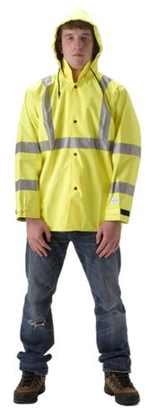 nasco envisage hi vis yellow premium breathable rain jacket