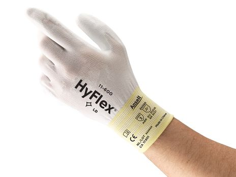 Ansell HyFlex Nylon Gloves 11-600 PU - Palm Coated All White Back