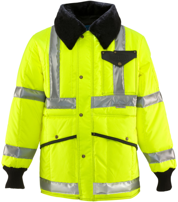 RefrigiWear 0342L2 HiVis Iron-Tuff Jackoat Lime Front