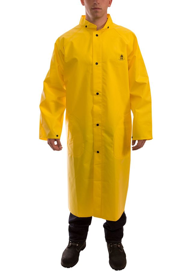 """Tingley C56207 DuraScrim™ Flame Resistant Coat - PVC Coated, Chemical Resistant, with Hood Snaps, 48"""" Front"""