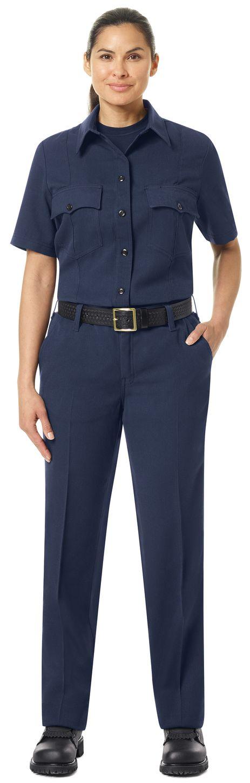 Workrite FR Women's Shirt FSM3, Station No. 73, Uniform Navy Example Front