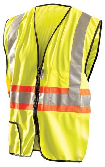 Occunomix Premium Solid Two-Tone Expandable Hi-Viz Vest LUX-SSG2TZ Front