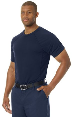 Workrite FR Station Wear Tee FT36, Base Layer, Athletic Style Navy Example Left