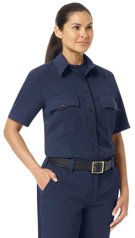 Workrite FR Women's Shirt FSM3, Station No. 73, Uniform Navy Example Right