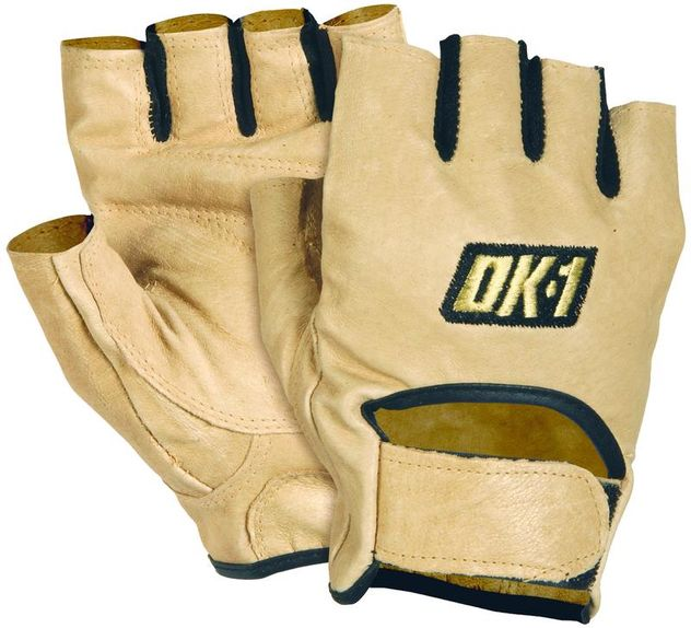 OK-1 Fingerless Lifter's Gloves WGS - Padded, Premium Grain Leather