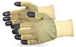Superior Kevlar Cut Level 4 Gloves w/ Nitrile Coated Finger Tips, Dotted Palm and Back SKFG2DFT