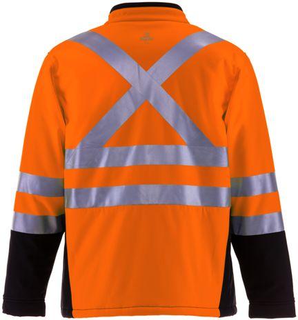 RefrigiWear 0496 Softshell HiVis Winter Work Jacket HiVis Orange With Reflective Tape Back
