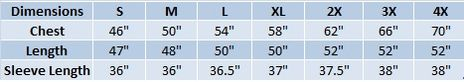 Tingley Protective Clothing Eclipse Size Chart