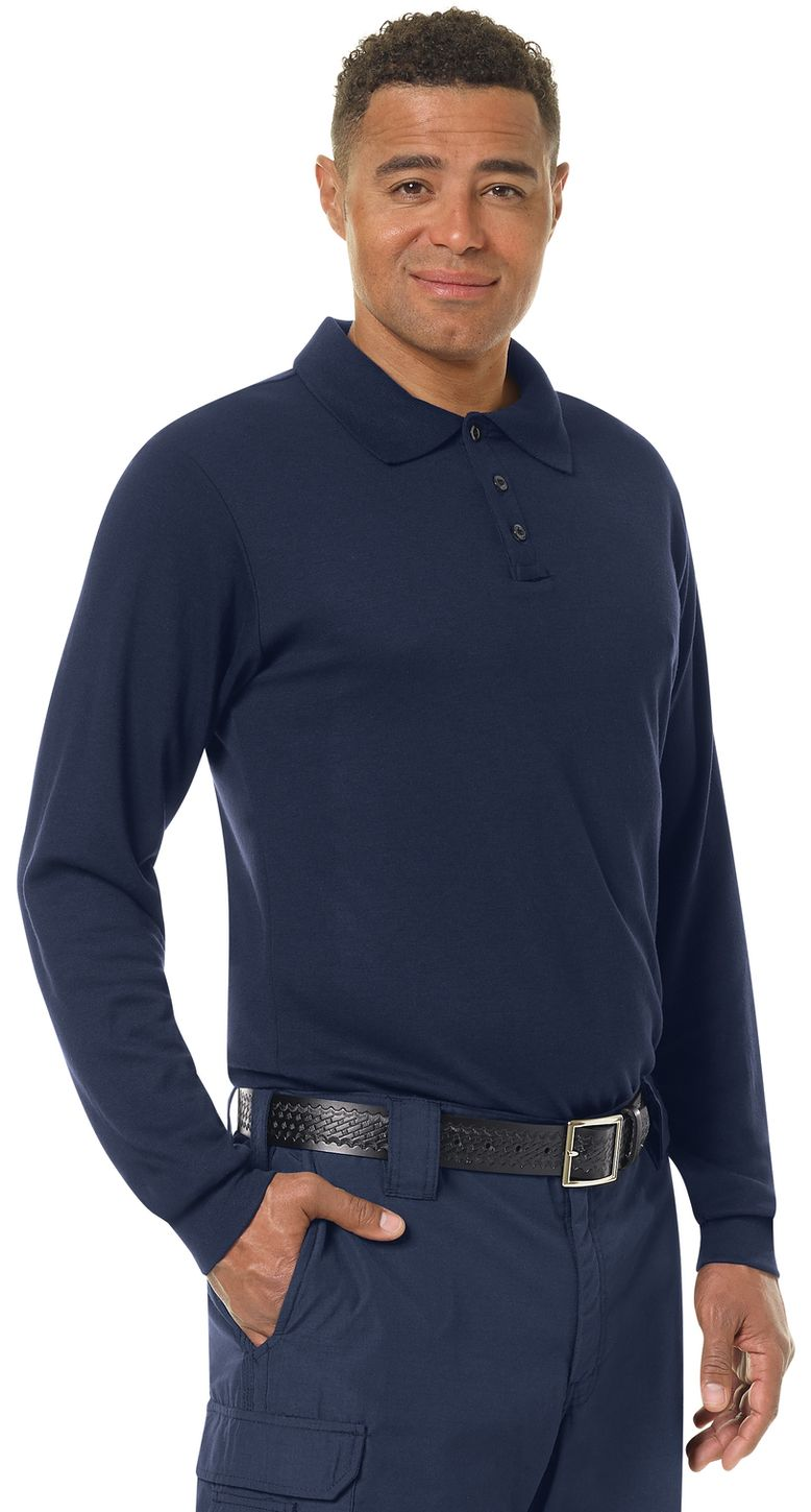 Workrite FR Polo Shirt FT20 Long Sleeve Fire Station Wear Navy Example Right