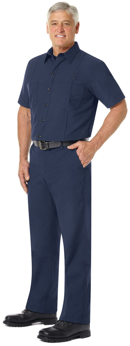 Workrite FR Firefighter Shirt FSF8, Classic Western Navy Example Left
