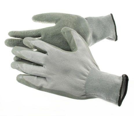 4Works Nylon Gloves HS1303 w/ Textured Latex Palm - Grey