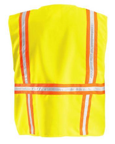 Occunomix LUX-XTRANS Hi-Viz Solid Two-Tone Surveyor Vest Yellow Back