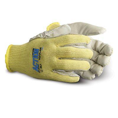 Superior Glove Action String Knit Kevlar Gloves SKGLP - Full Grain Leather Palm Cut Resistant Gloves