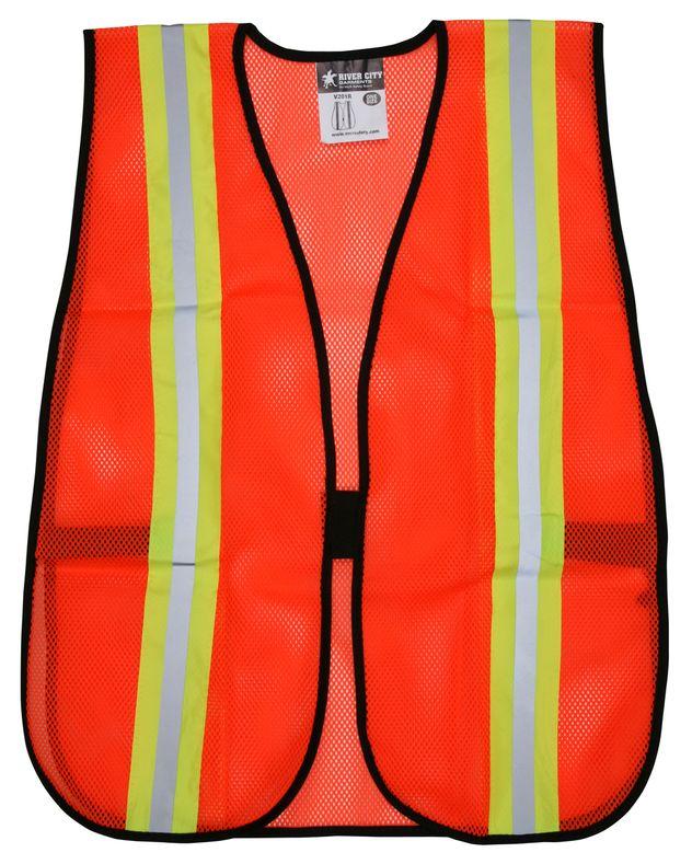 MCR River City Safety Vest V201R - High Visibility, Orange Mesh, Reflective Stripes Front