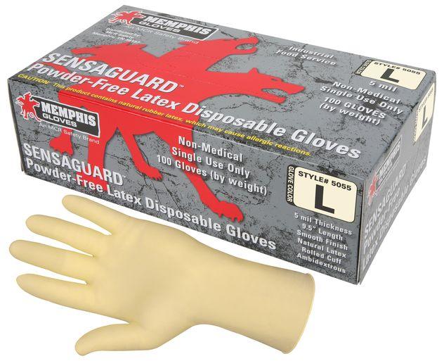 MCR Safety SensaGuard Latex Disposable Gloves 5055 Powder-Free