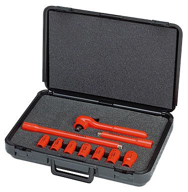 Knipex Tools Metric Lineman's Insulated Socket Wrench Tool Kit 98 99 11 S4