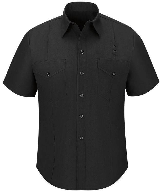 Workrite FR Firefighter Shirt FSF6, Classic Short Sleeve, Western Black Front