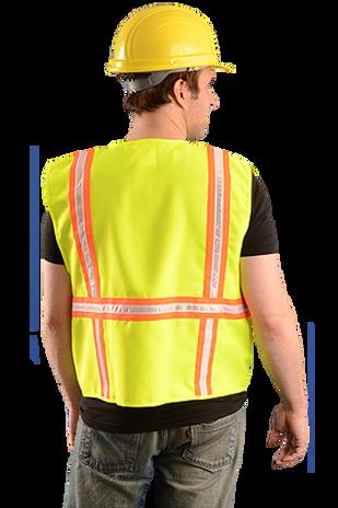 Occunomix LUX-XTRANS Hi-Viz Solid Two-Tone Surveyor Vest Yellow Back Example