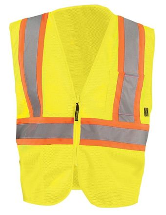 Occunomix ECO-IM2TZ Mesh Two-Tone Vest With Zipper Front Yellow
