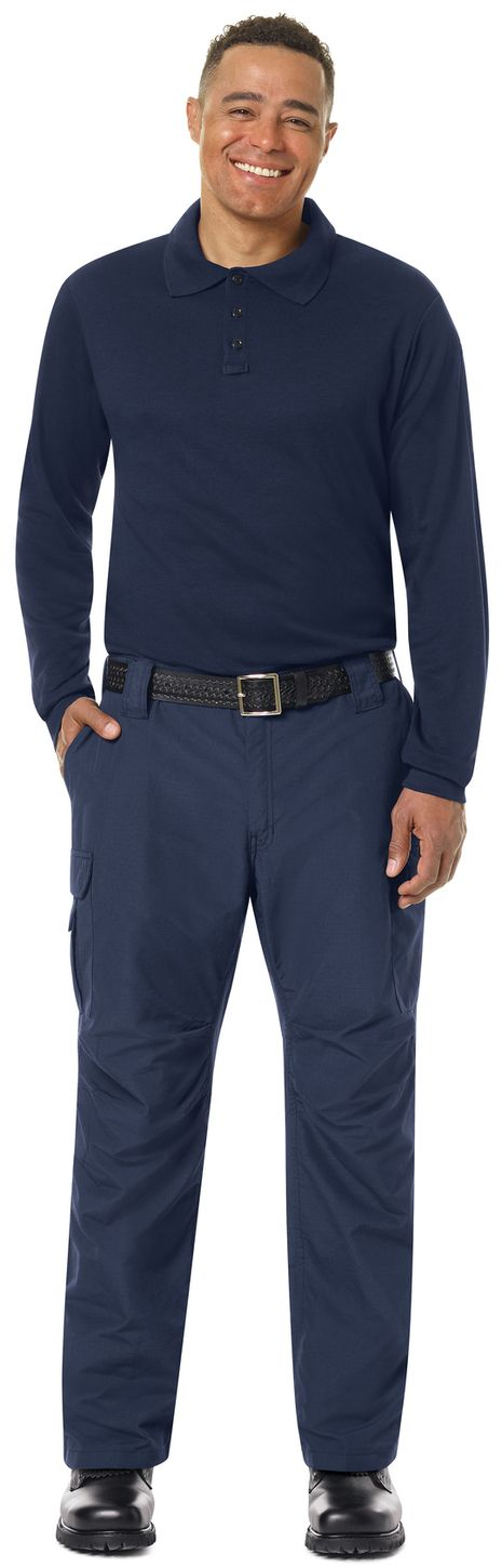 Workrite FR Polo Shirt FT20 Long Sleeve Fire Station Wear Navy Example Front