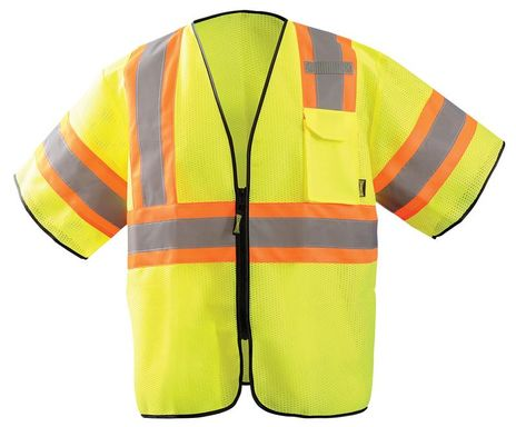 Occunomix ECO-GCZ32T HiViz Two-Tone Mesh Vest Front Yellow