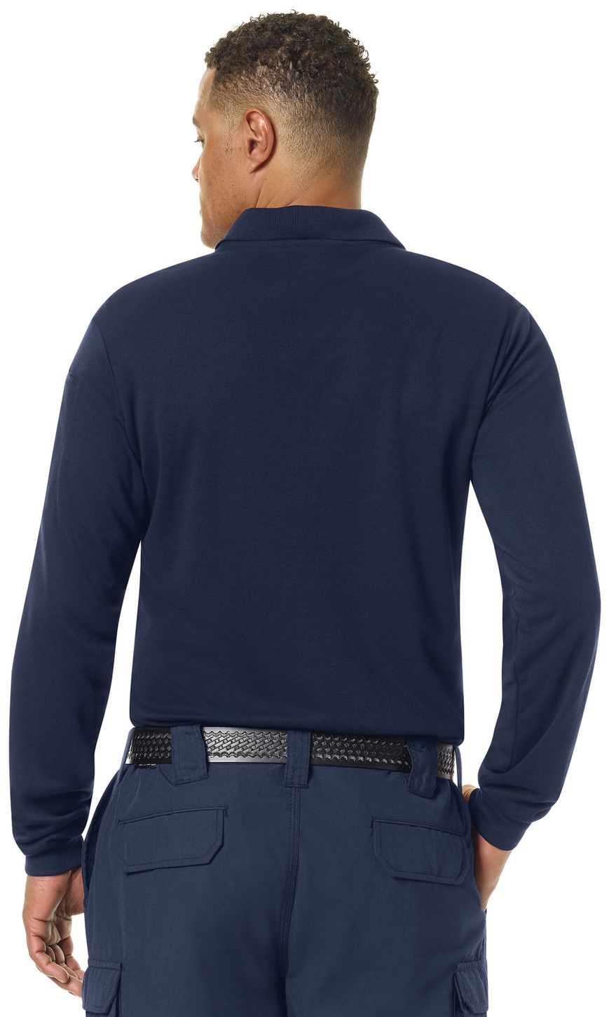Workrite FR Polo Shirt FT20 Long Sleeve Fire Station Wear Navy Example Back